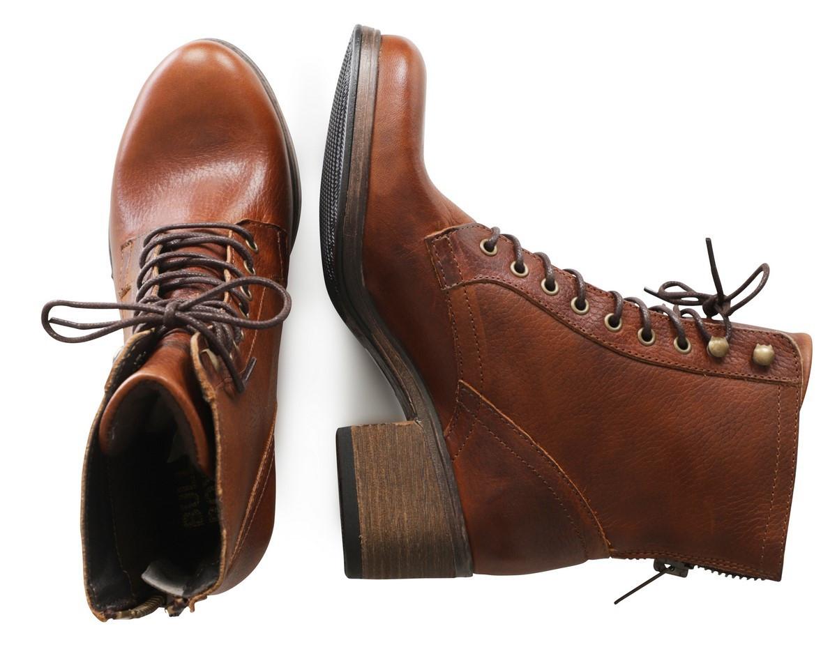 ooit populair loop schoenen nieuwe afbeeldingen van Bullboxer Stoere Leren Enkellaars - Cognac
