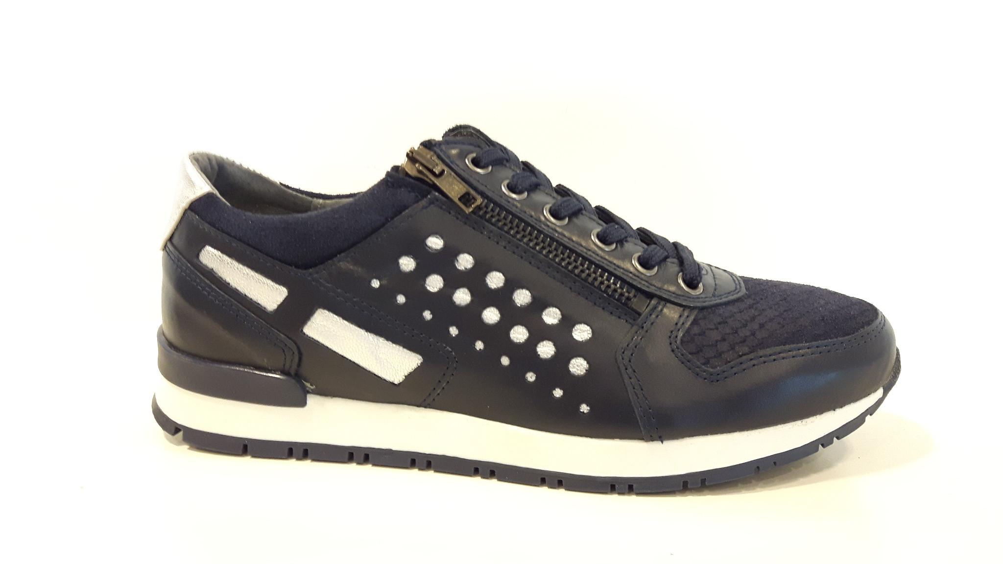Bibop Navy silver Leren Sneaker