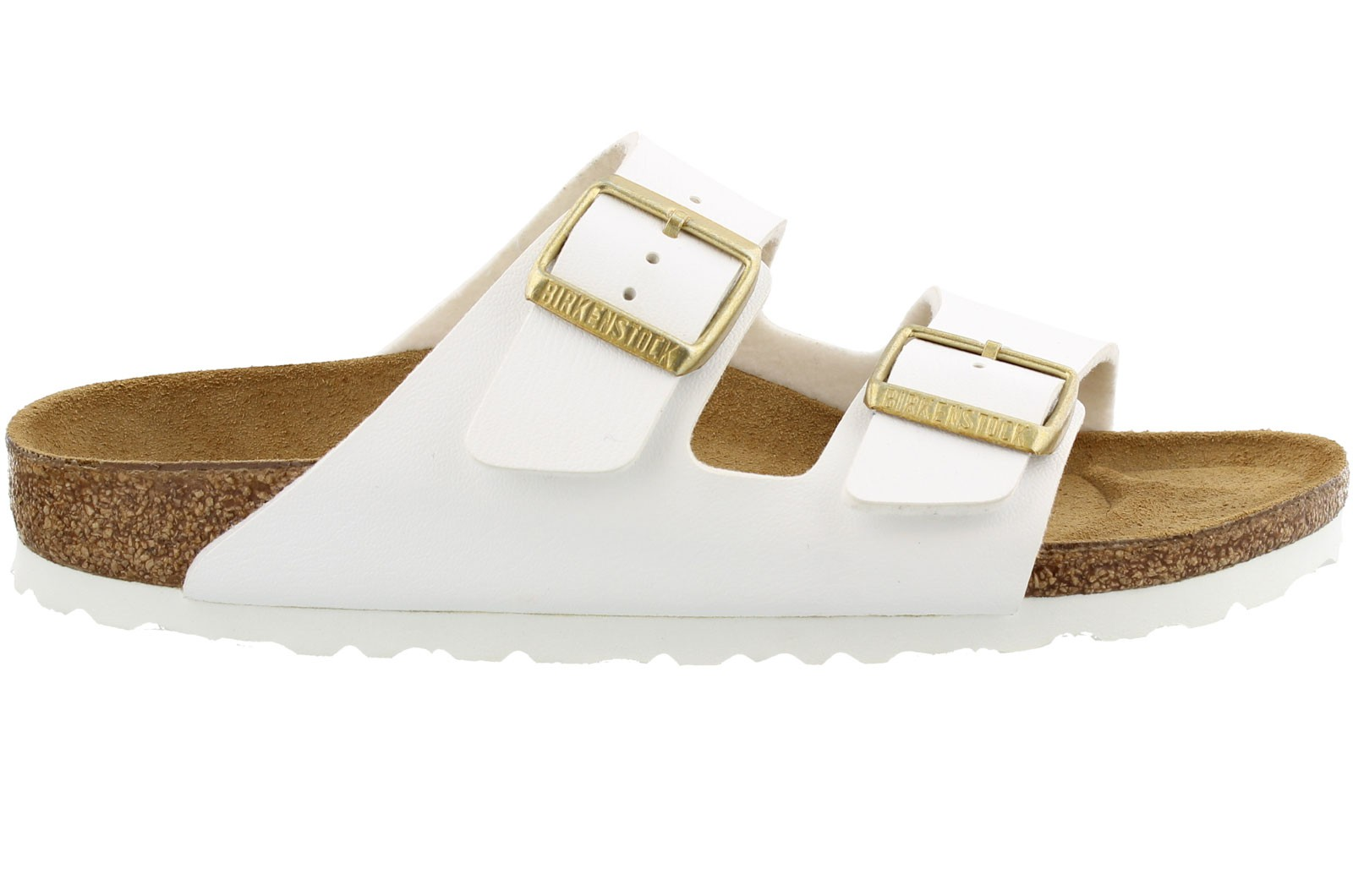 Birkenstock Arizona white gold buckle Smalle fit
