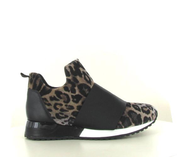 La Strada Beige Leopard velvet sneakers